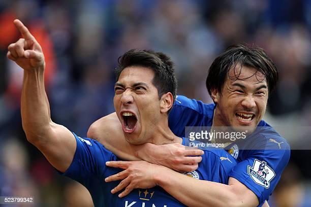 Leonardo Ulloa of Leicester City celebrates with Shinji Okazaki of Leicester City after scoring to make it 20 during the Barclays Premier League...
