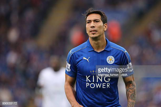 Leonardo Ulloa of Leicester City during the Barclays Premier League match between Leicester City and Everton at The King Power Stadium on May 7 2016...