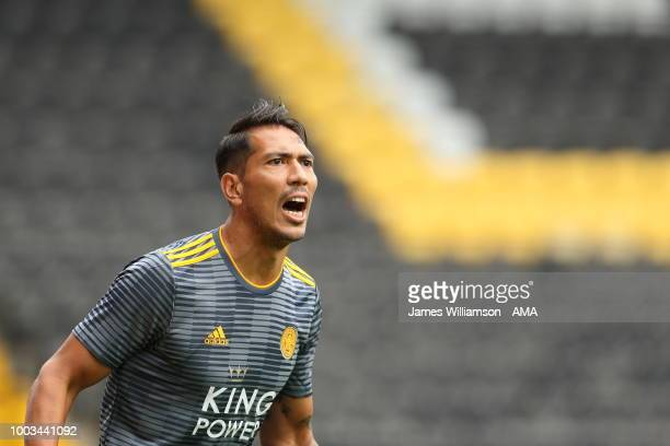 Leonardo Ulloa of Leicester City during the preseason match between Notts County and Leicester City at Meadow Lane on July 21 2018 in Nottingham...