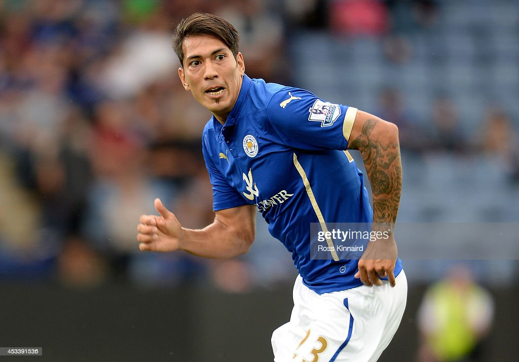 Leonardo Ulloa of Leicester City in action during the pre season friendly match between Leicester City and Werder Bremen at The King Power Stadium on August 9, 2014 in Leicester, England.