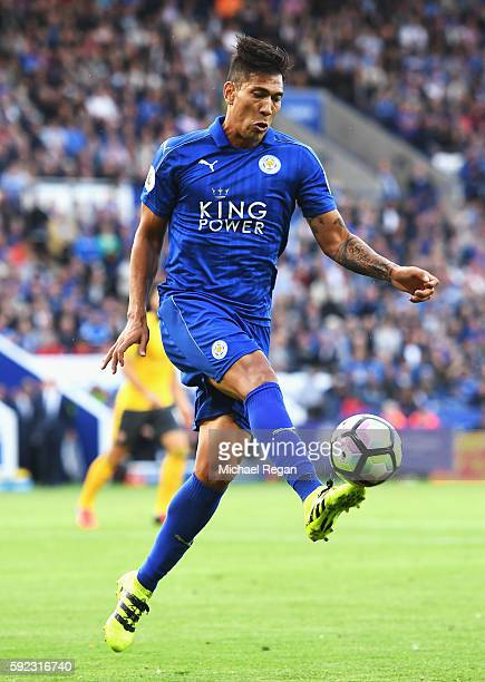 Leonardo Ulloa of Leicester City in action during the Premier League match between Leicester City and Arsenal at The King Power Stadium on August 20...