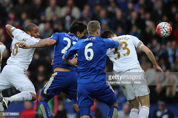 Leonardo Ulloa of Leicester City scores a goal to make the score 20 during the Barclays Premier League match between Leicester City and Swansea City...