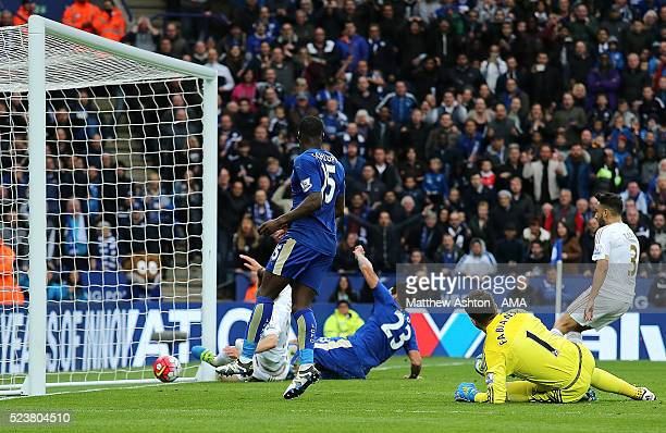 Leonardo Ulloa of Leicester City scores a goal to make the score 30 during the Barclays Premier League match between Leicester City and Swansea City...