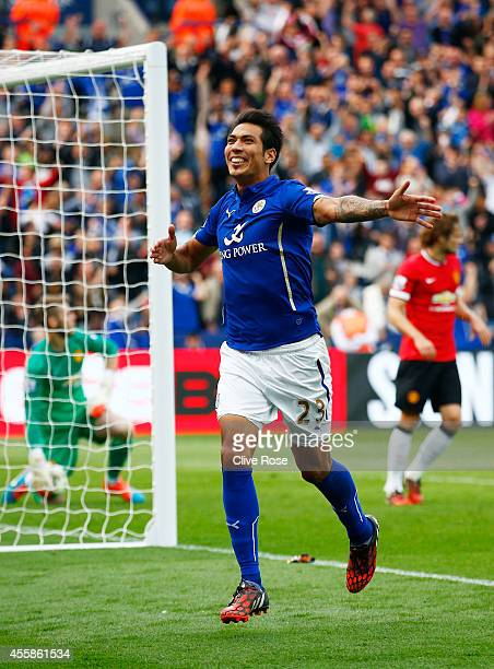 Leonardo Ulloa of Leicester City scores his team's fifth goal from the penalty spot during the Barclays Premier League match between Leicester City...