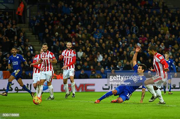 Leonardo Ulloa of Leicester City scores his team's third goal during the Barclays Premier League match between Leicester City and Stoke City at The...