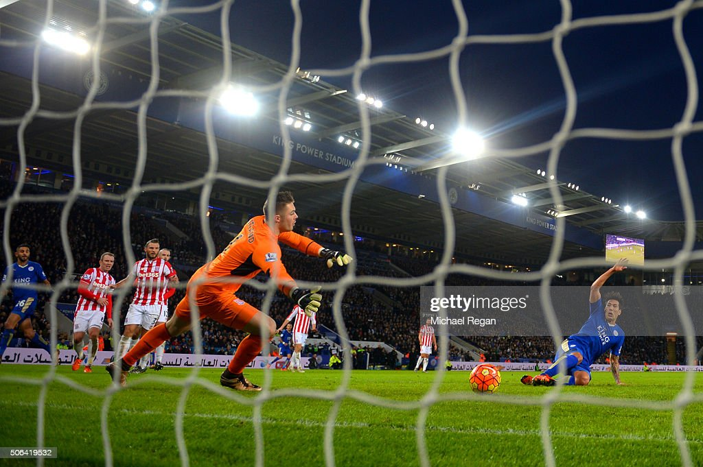 Leonardo Ulloa of Leicester City scores his team's third goal during the Barclays Premier League match between Leicester City and Stoke City at The King Power Stadium on January 23, 2016 in Leicester, England.