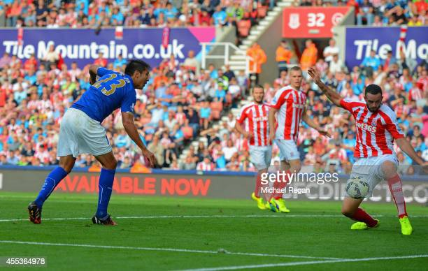 Leonardo Ulloa of Leicester City scores the opening goal during the Barclays Premier League match between Stoke City and Leicester City at Britannia...