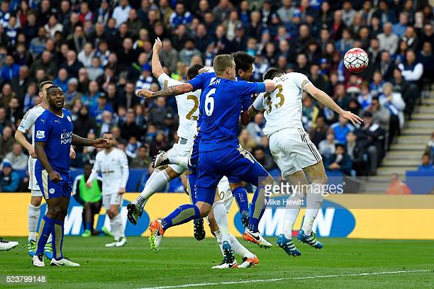 Leonardo Ulloa of Leicester City scores their second goal during the Barclays Premier League match between Leicester City and Swansea City at The...