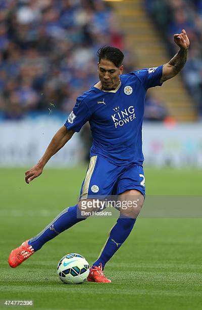 Leonardo Ulloa of Leicester in action during the Premier League match between Leicester City and Queens Park Rangers at The King Power Stadium on May...