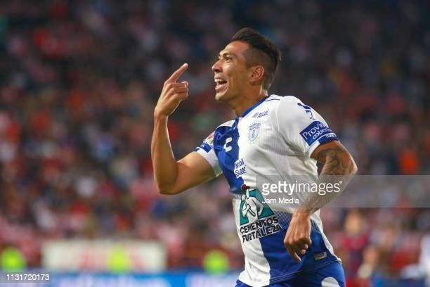Leonardo Ulloa of Pachuca celebrates after scoring the third goal of his team during the 8th round match between Pachuca and Chivas as part of the...