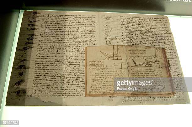 Leonardo's codes of Leicester and Forster lie on display at the Leonardo Da Vinci exhibition vernissage at the Uffizi Gallery on March 27 2006 in...