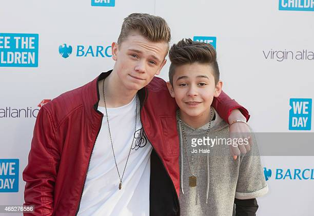Leondre Devries and Charlie Lenehan of Bars and Melody attend We Day UK at Wembley Arena on March 5 2015 in London United Kingdom