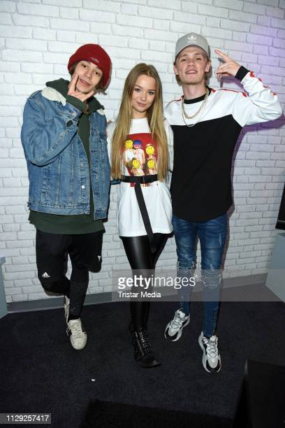 Leondre Devries and Charlie Lenehan of the UK duo Bars and Melody and Julia Beautx pose for pictures during the Bars and Melody record release party...