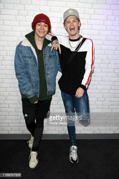 Leondre Devries and Charlie Lenehan of the UK duo Bars and Melody pose for pictures during the Bars and Melody record release party on March 8 2019...