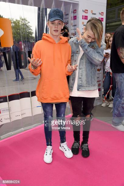 Leondre Devries Charlie Lenehan of the duo Bars Melody during the red carpet arrivals at the VideoDays 2017 at Lanxess Arena on August 24 2017 in...