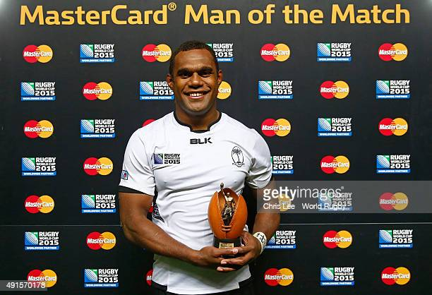 Leone Nakarawa of Fiji poses with the MasterCard Man of the Match award after the 2015 Rugby World Cup Pool A match between Fiji and Uruguay at...