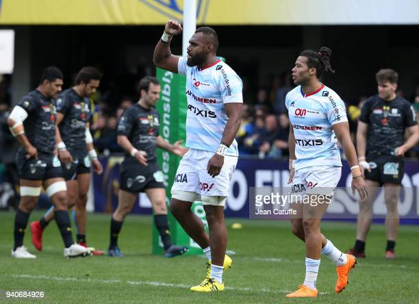 Leone Nakarawa of Racing 92 celebrates scoring a try Teddy Thomas during the European Rugby Champions Cup match between ASM Clermont Auvergne and...