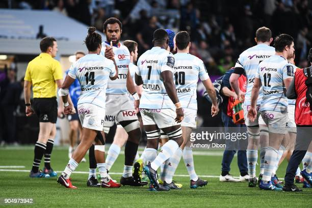 Leone Nakarawa of Racing celebrates a try with Teddy Thomas during the Champions Cup match between Racing 92 and Munster at U Arena on January 14...