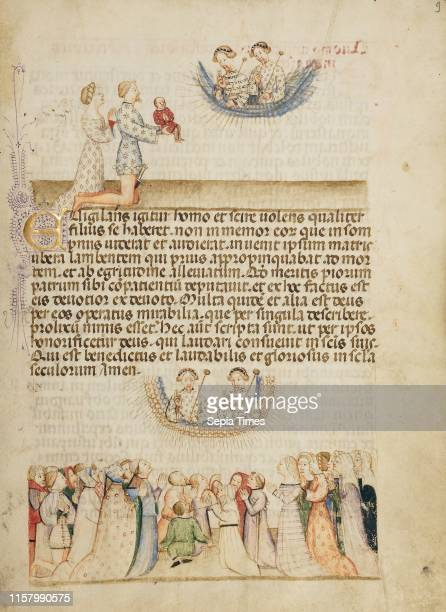Leone Otasso and His Wife Presenting Their Sick Son to Saints Aimo and Vermondo A Crowd of Lay Worshippers Giving Thanks Attributed to Anovelo da...