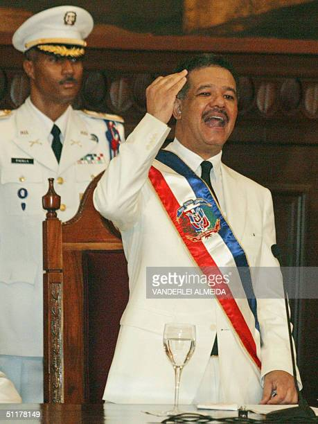 Leonel Fernandez delivers a speech before special guests at the National Congress in Santo Domingo 16 August during his inauguration as President of...