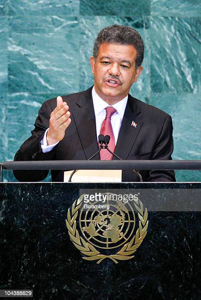 Leonel Fernandez Reyna president of the Dominican Republic speaks during the 65th annual United Nations General Assembly at the UN in New York US on...