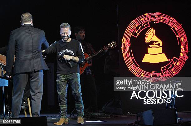 Leonel Garcia and Noel Schajris of Sin Banderas perform at the Latin GRAMMY Acoustic Sessions Los Angeles on September 21 2016 in Los Angeles...