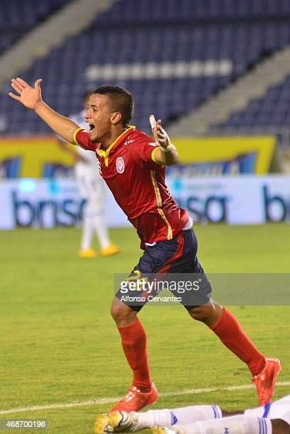 Leonel Garcia of Uniautónoma celebrates after scoring the second goal of his team during a match between Uniautonoma and Millonarios as part of 13th...