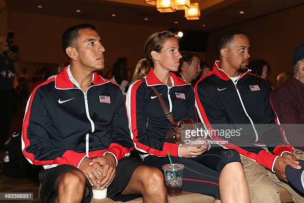Leonel Manzano, Morgan Uceny and Wallace Spearmon of the United States attend a press conference ahead of the IAAF World Relays at the Melia Hotel on...