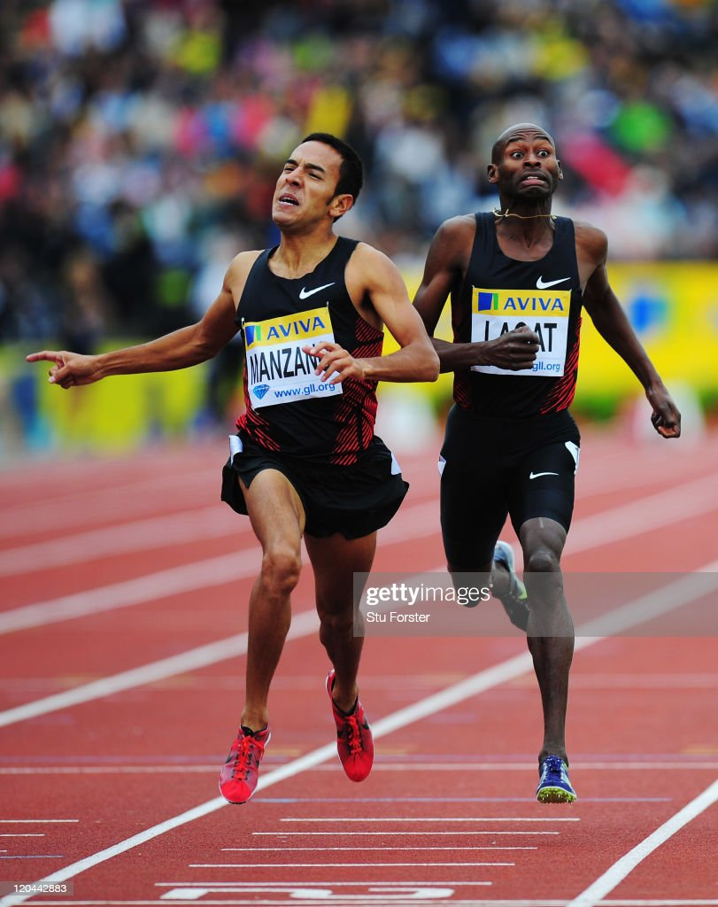 Leonel Manzano of the United States of America and Bernard Lagat of the United States of America compete in the Emsley Carr Mile during the Aviva London Grand Prix at Crystal Palace on August 6, 2011 in London, England.