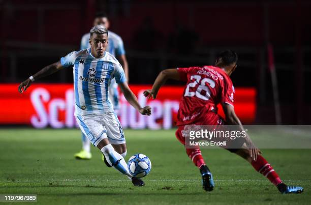 Leonel Miranda of Racing Club drives the ball during a match between Argentinos Juniors and Racing Club as part of Superliga 2019/20 at Diego Armando...
