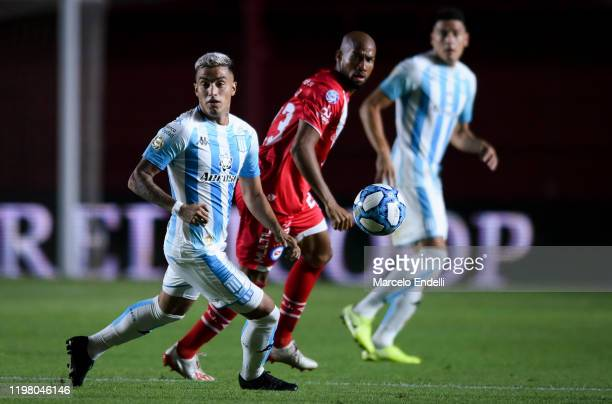 Leonel Miranda of Racing Club looks at the ball during a match between Argentinos Juniors and Racing Club as part of Superliga 2019/20 at Diego...
