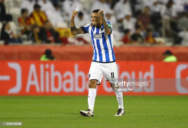 Leonel Vangioni of CF Monterrey celebrates after scoring his team's first goal during the FIFA Club World Cup 2nd round match between Monterrey and...