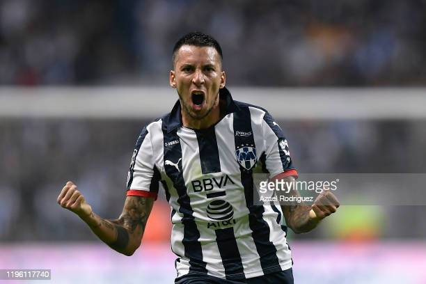 Leonel Vangioni of Monterrey celebrates the first goal of his team scored by teammate Stefan Medina during the Final first leg match between...
