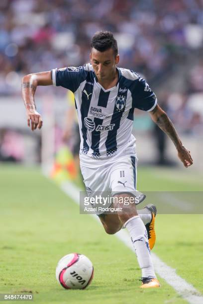 Leonel Vangioni of Monterrey drives the ball during the 9th round match between Monterrey and Atlas as part of the Torneo Apertura 2017 Liga MX at...