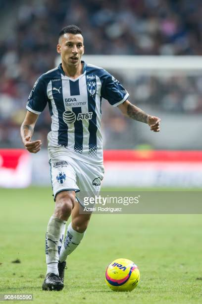 Leonel Vangioni of Monterrey drives the ball during the third round match between Monterrey and Tijuana as part of Torneo Clausura 2018 Liga MX at...