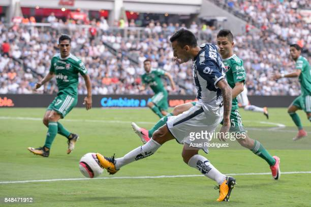 Leonel Vangioni of Monterrey kicks the ball during the 9th round match between Monterrey and Atlas as part of the Torneo Apertura 2017 Liga MX at...