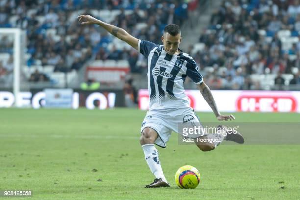 Leonel Vangioni of Monterrey kicks the ball during the third round match between Monterrey and Tijuana as part of Torneo Clausura 2018 Liga MX at...