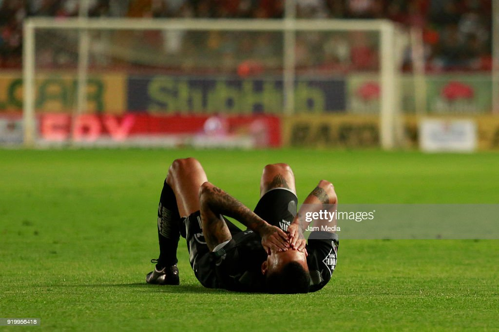 Leonel Vangioni of Monterrey reacts during the 8th round match between Necaxa and Monterrey as part of the Torneo Clausura 2018 Liga MX at Victoria Stadium on February 17, 2018 in Aguascalientes, Mexico.