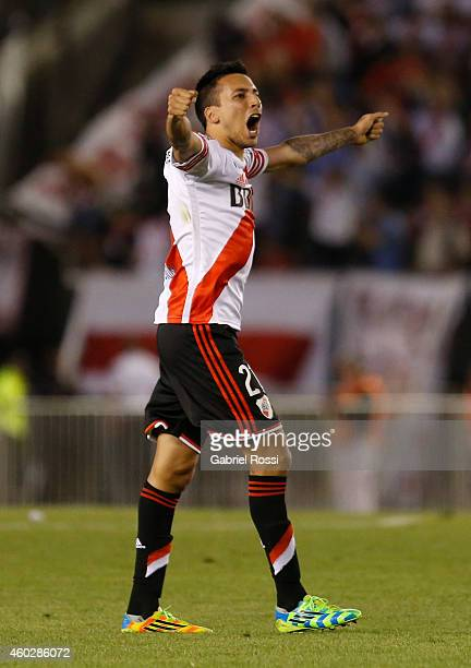 Leonel Vangioni of River Plate celebrates their team's first goal scored by Gabriel Mercado during a second leg final match between River Plate and...