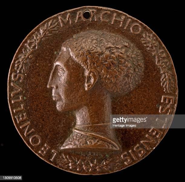 Leonello d'Este, 1407-1450, Marquess of Ferrara 1441 [obverse], circa 1443. Artist Pisanello. .