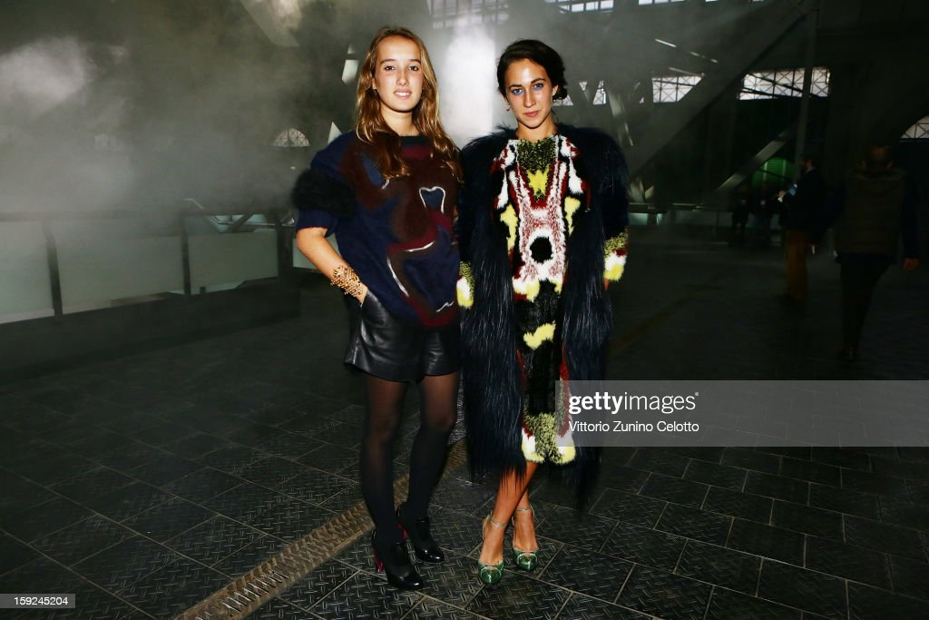 Leonetta Fendi (L) and Delfina Delettrez Fendi (R) attend Kenzo fashion show as part of Pitti Immagine Uomo 83 at Mercato Centrale on January 10, 2013 in Florence, Italy.