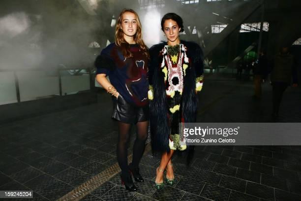 Leonetta Fendi and Delfina Delettrez Fendi attend Kenzo fashion show as part of Pitti Immagine Uomo 83 at Mercato Centrale on January 10 2013 in...