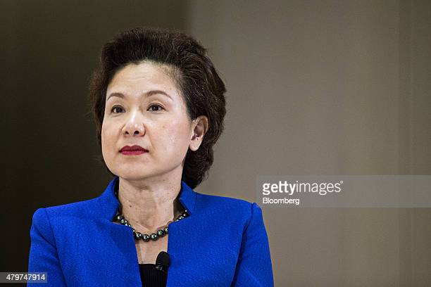 Leong Wai Leng chief financial officer of Temasek Holdings Pte attends a news conference for the company's annual review in Singapore on Tuesday July...