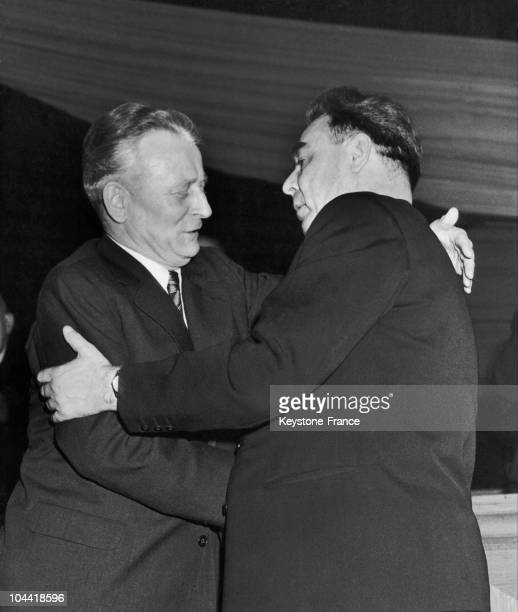 Leonid Brezhev Member Of The Soviet Communist Party'S Central Committee Fraternally Thanking Antonin Novotny For The Reading Of A Letter Adressed To...