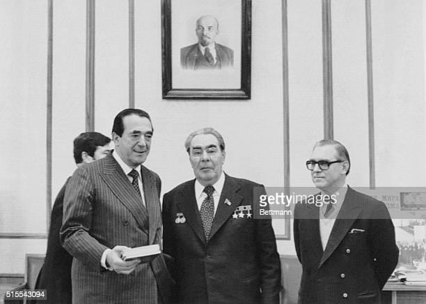 Leonid Brezhnev and Robert Maxwell