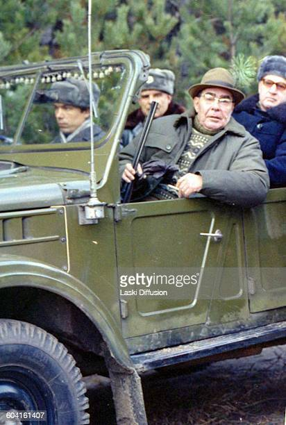Leonid Brezhnev at a hunting expedition at Zalesye hunting farm in Ukraine USSR in 1978