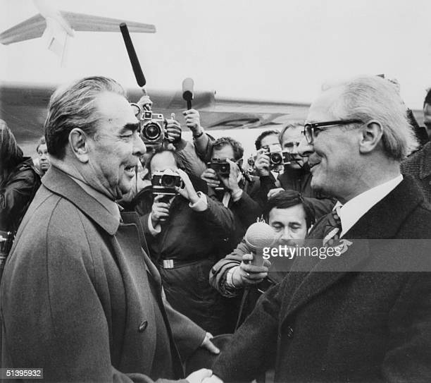 Leonid Brezhnev general secretary of the Soviet Communist Party Central Committee and the USSR head of state is welcomed 05 October 1974 at east...