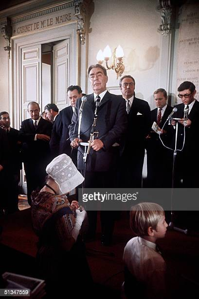 Leonid Brezhnev general secretary of the Soviet Union Communist Party Central Committee and the USSR head of State addresses media 28 October 1971...