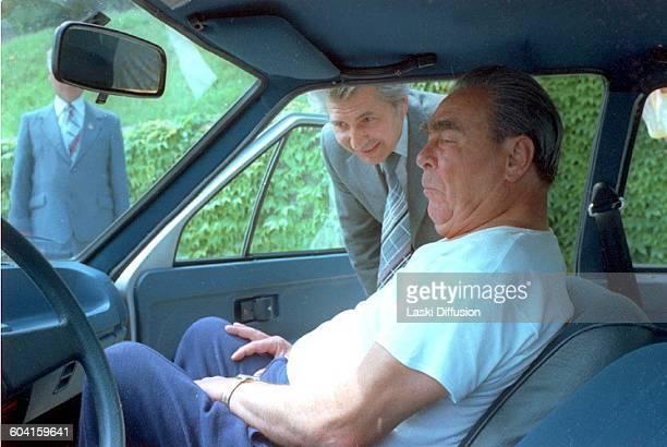 Leonid Brezhnev in a brand new car USSR in 1978