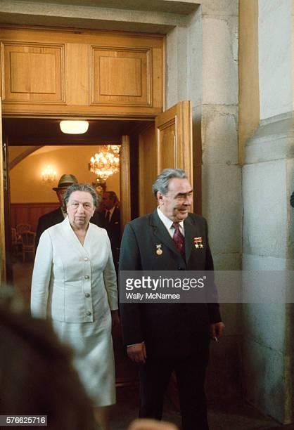 Leonid Brezhnev Walking with His Wife